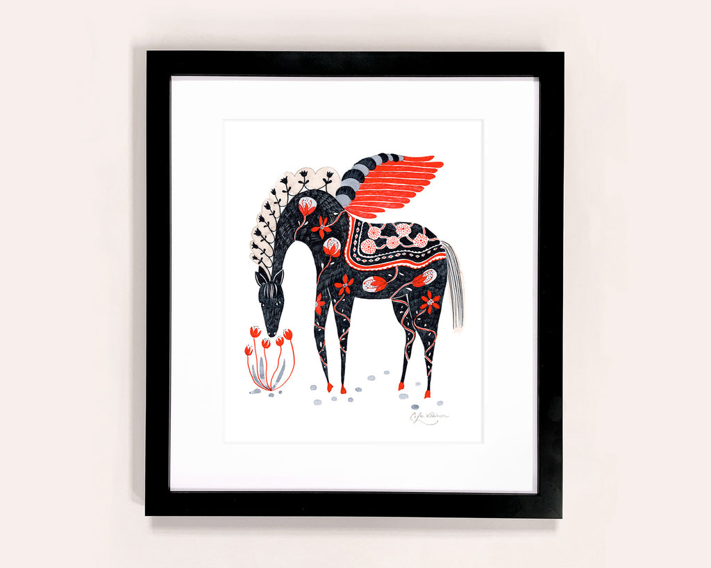 Flower decorated Winged Horse illustrated art print by Colee Wilkinson
