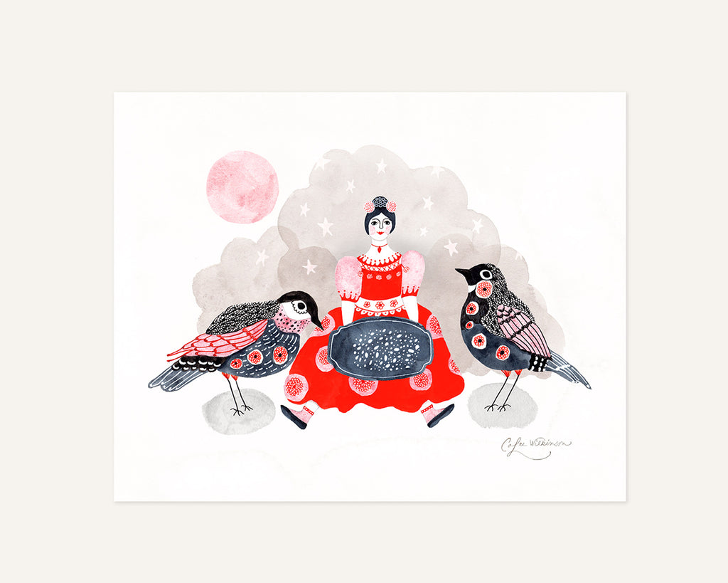 Illustrated art print of Lady feeding birds by Colee Wilkinson