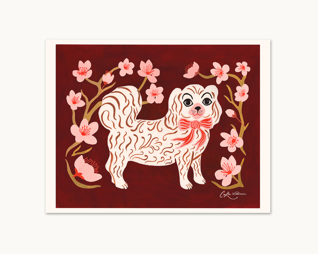 art print of white puppy with cherry blossom branches by Colee Wilkinson