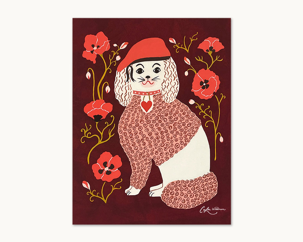 Poodle with red beret and red poppies illustrated art print by Colee Wilkinson