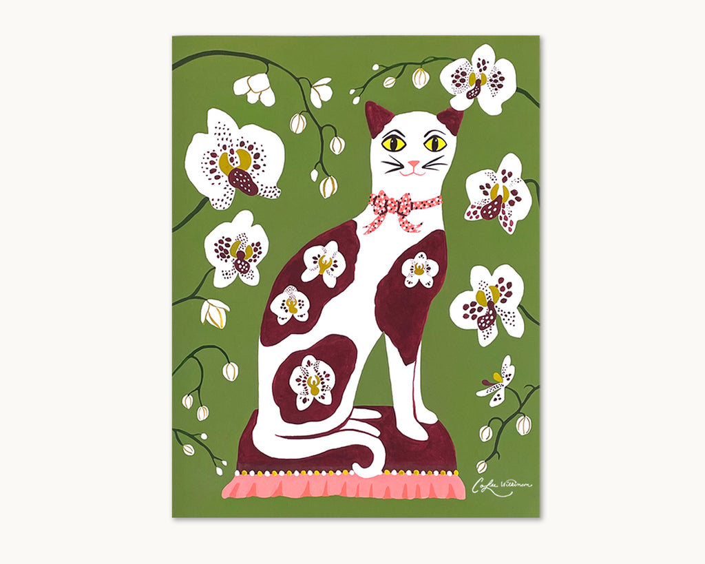 illustrated art print with calico cat and orchids by Colee Wilkinson