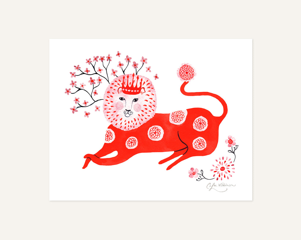Red Lion spotted with Flowers illustrated art print by Colee Wilkinson