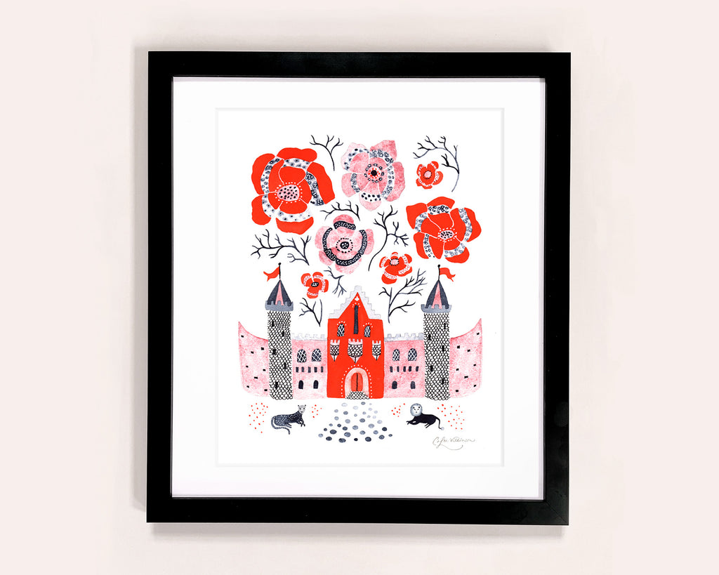 Castle with poppies illustrated art print by Colee Wilkinson