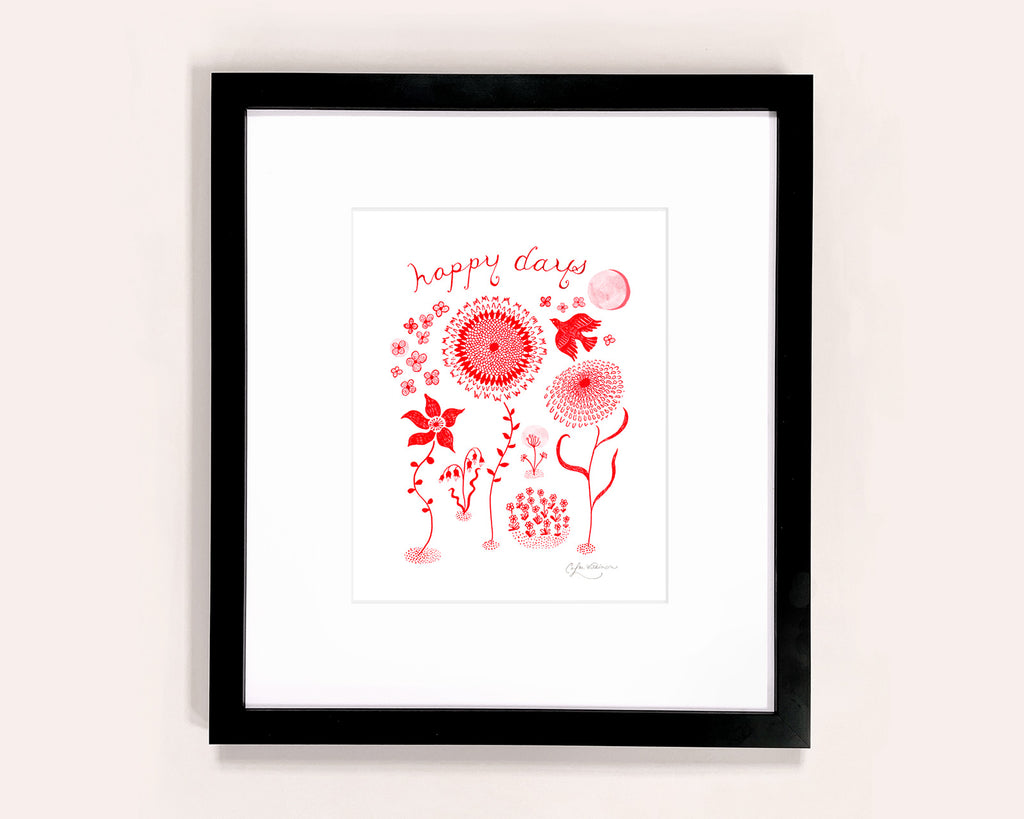 Red Doodle Flowers illustrated art print by Colee Wilkinson