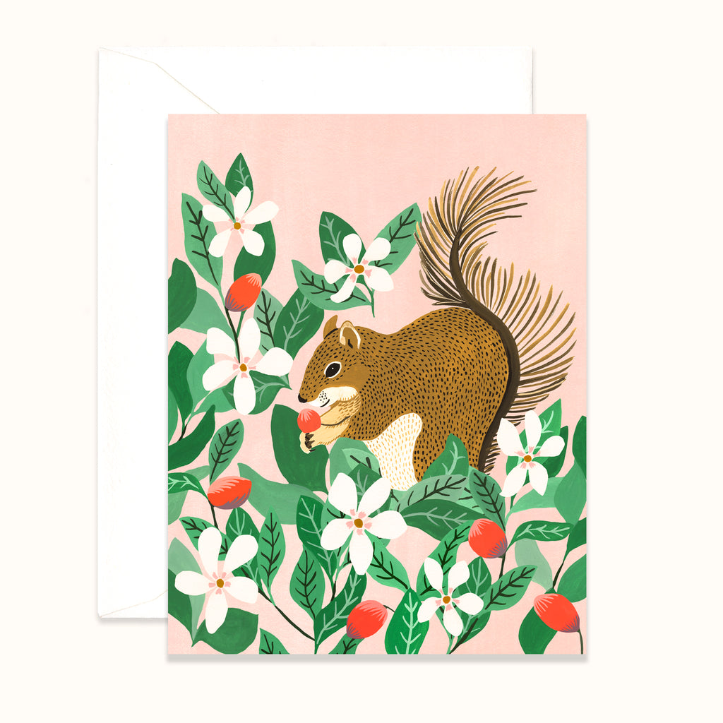Illustrated Greeting card with squirrel in berry bush by Colee Wilkinson