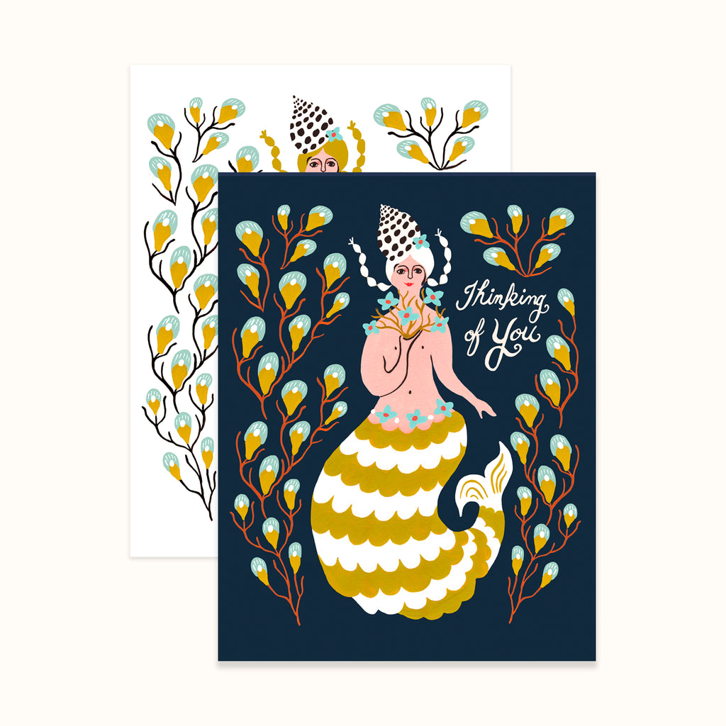 Mermaid with seaweed illustrated greeting cards by Colee Wilkinson