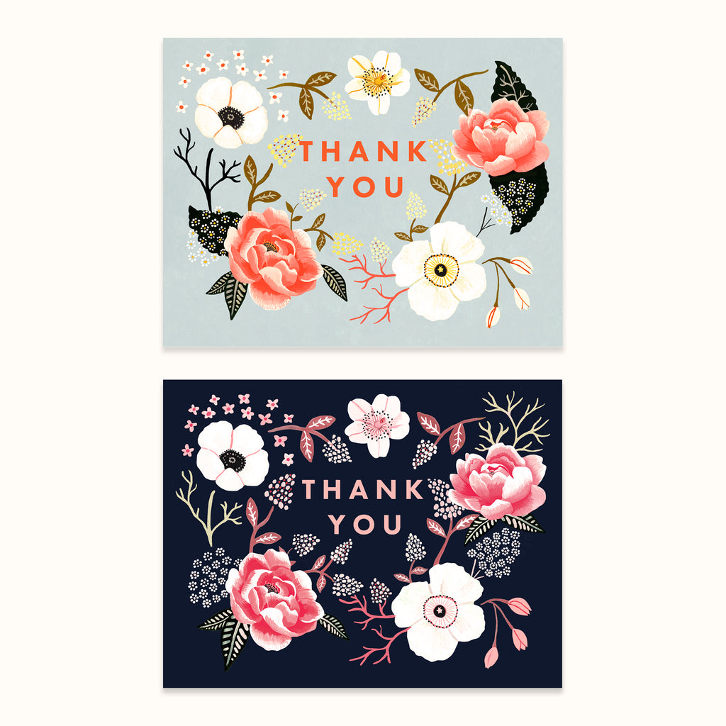 Illustrated floral thank you greeting cards by Colee Wilkinson