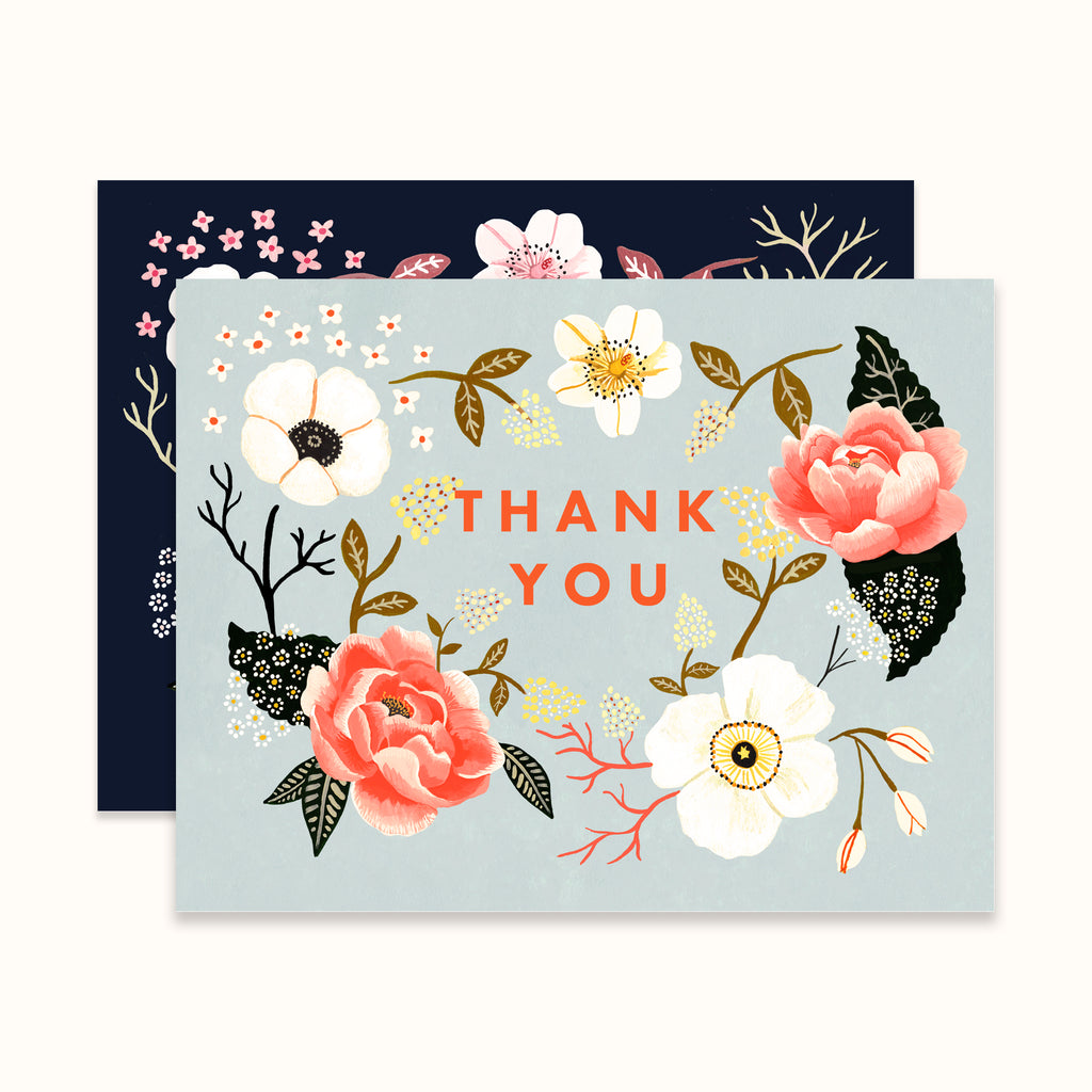 Pair of illustrated floral wreath thank you greeting cards by Colee Wilkinson