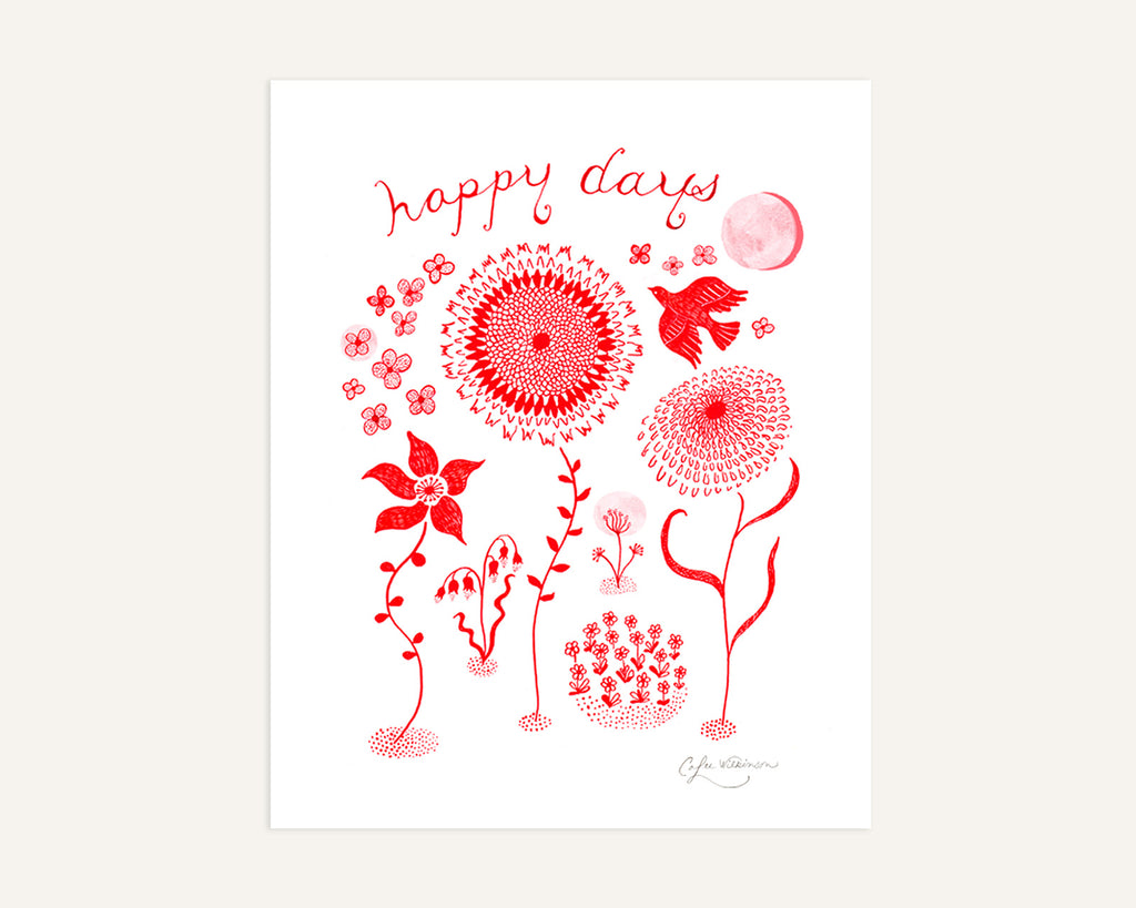 Red Doodle Flowers art print by Colee Wilkinson