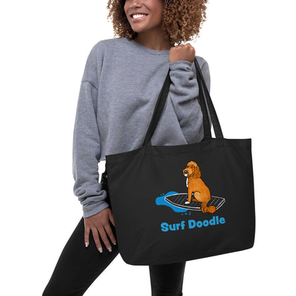 Surf Doodle Large Organic Cotton Tote Bag