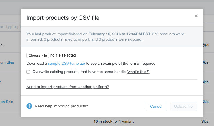 Shopify admin - import product csv modal
