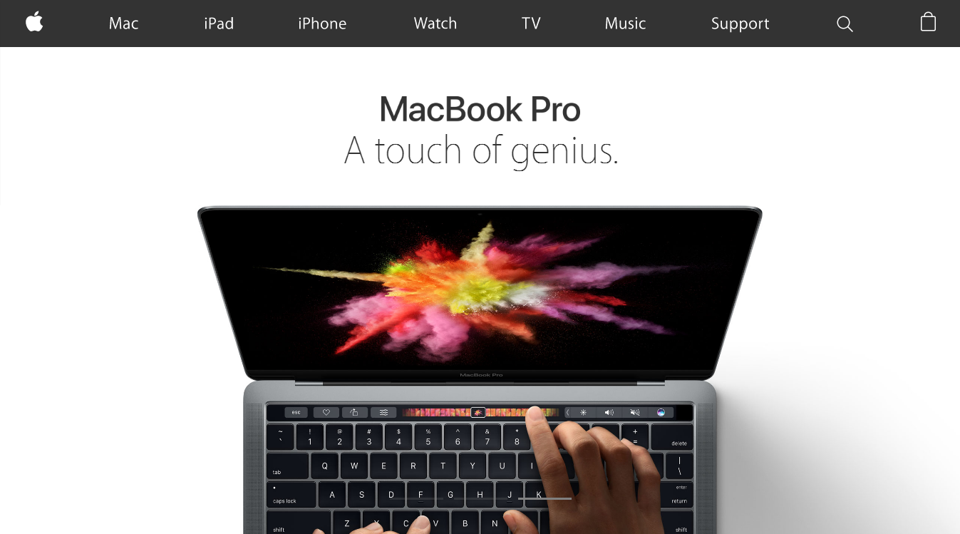 4 trendy visual design techniques: Macbook pro hero
