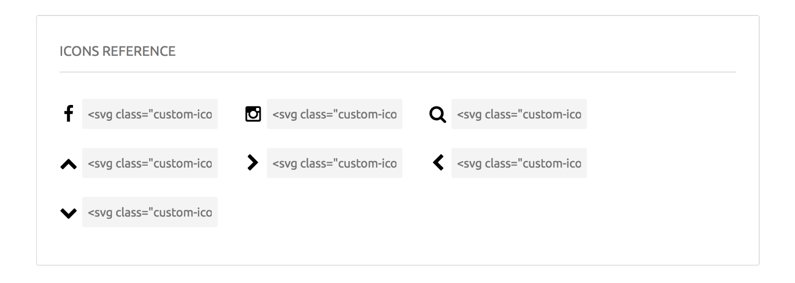 SVG Icons: Icon reference for SVG embed code on Fontastic