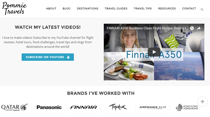 Screenshot of a travel blog that shows logos of air travel companies and consumer products companies the founder has collaborated with and has partnerships with.