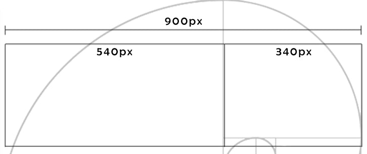 A cut of the Golden Ratio image showing a 900px screen split into two pieces –560 pixels and 340 pixels.