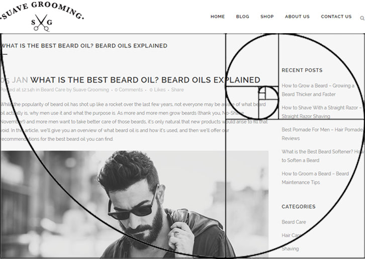 The Golden Ratio concept overlaid on a webpage selling men's beard oil, showing the concept in practice with a smaller sidebar.