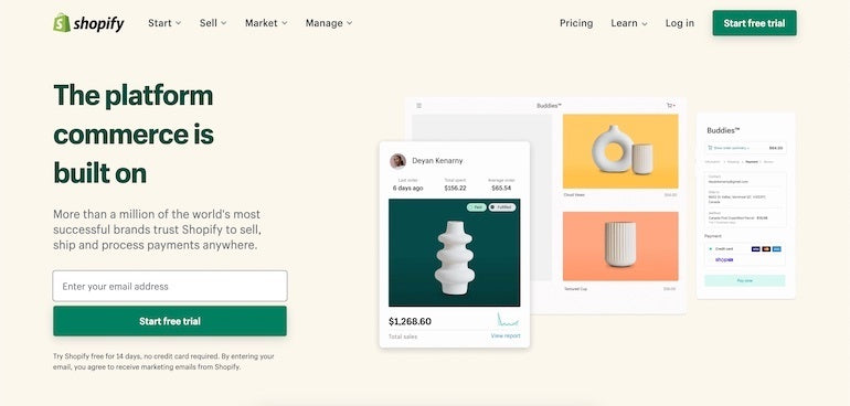 A screenshot of the Shopify homepage with two green Start Free Trial buttons displayed prominently.