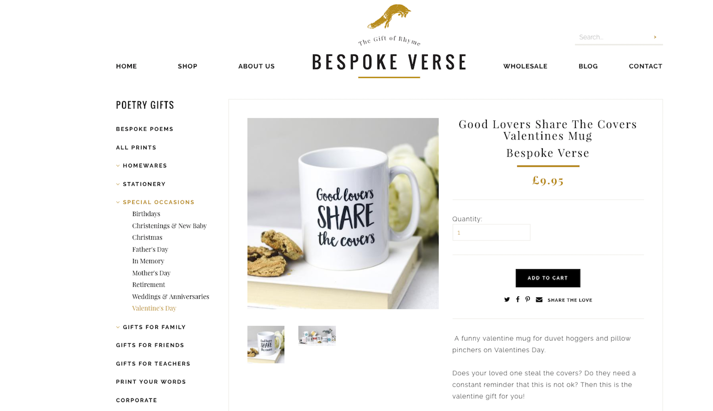 8 ecommerce stores to inspire your valentines day: Bespoke verse