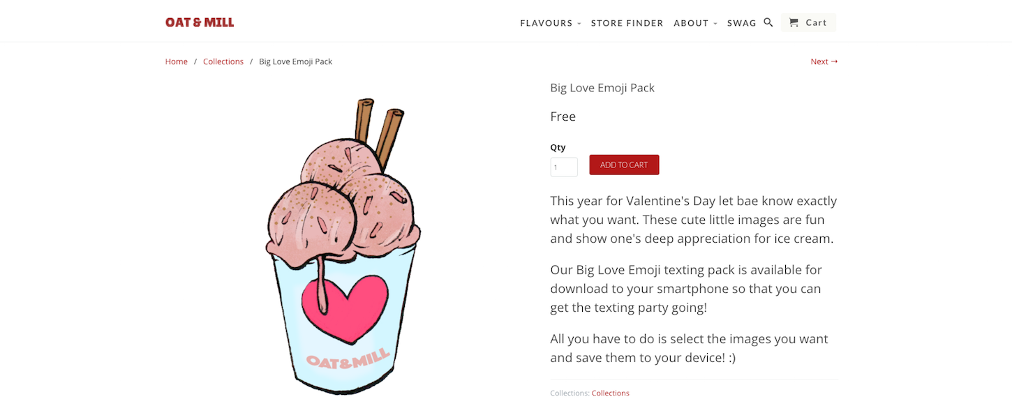 8 ecommerce stores to inspire your valentines day: Oat and mill emoji