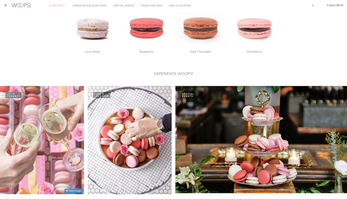 8 ecommerce stores to inspire your valentines day: Woops homepage