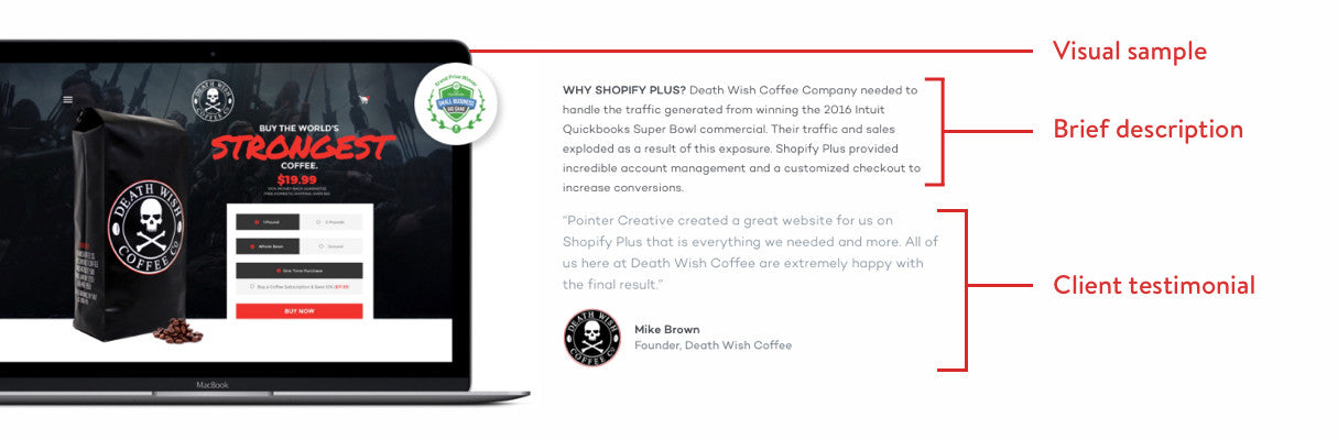 Benefits of adding shopify landing page to your site: Pointer Creative