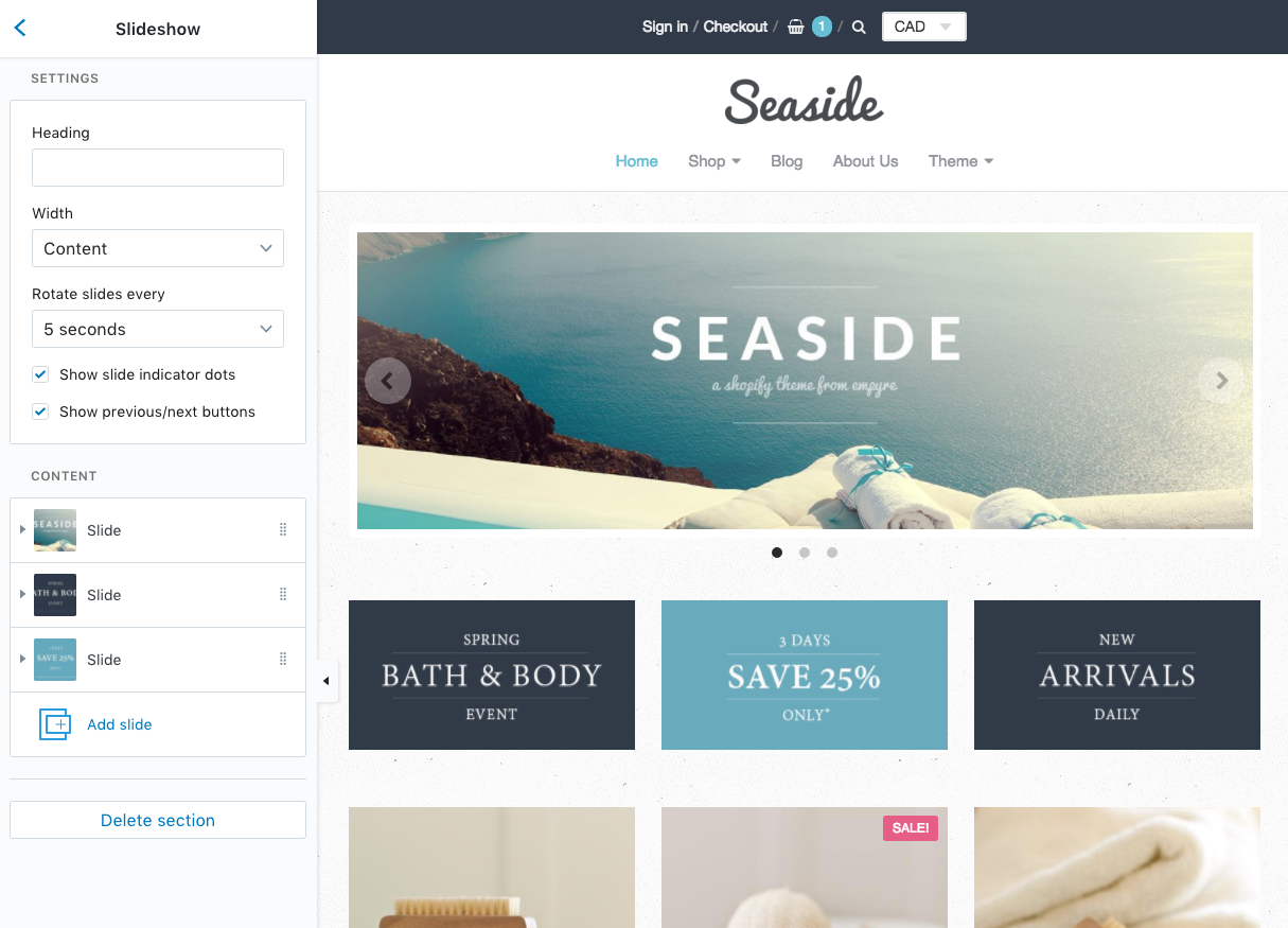 Building sections into a theme: Seaside