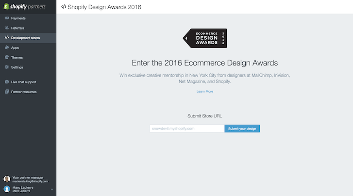 Ecommerce Design Awards: Partner Dashboard