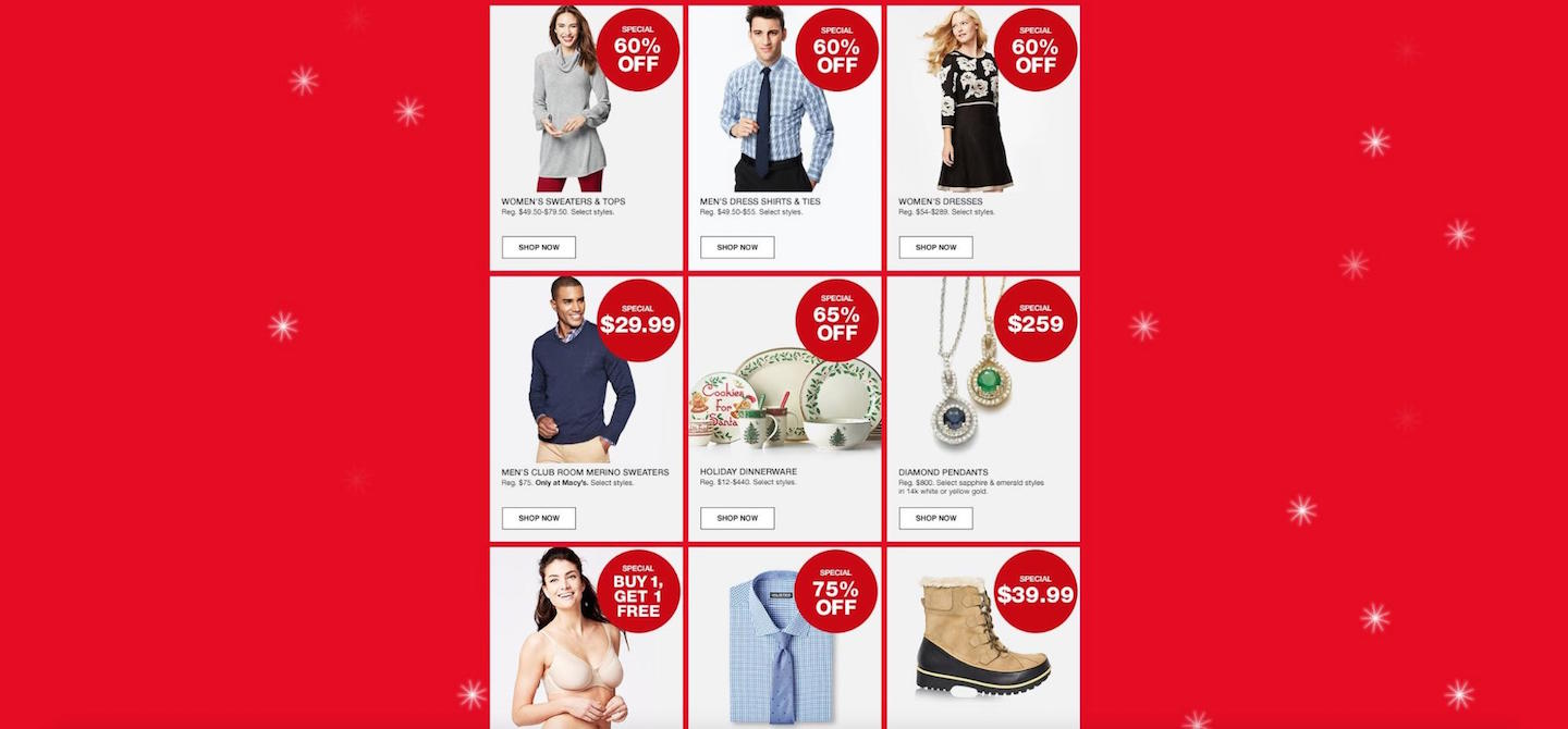 Designing Webpages For Christmas: Big Headlines, Macy's Product Page