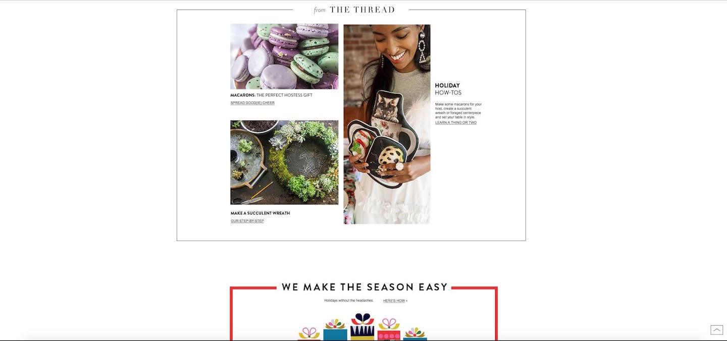 Designing Webpages For Christmas: Nordstrom Blog Entries