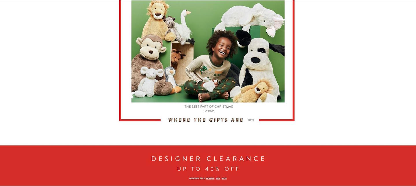 Designing Webpages For Christmas: Extreme White Space, Nordstrom Gift Categories