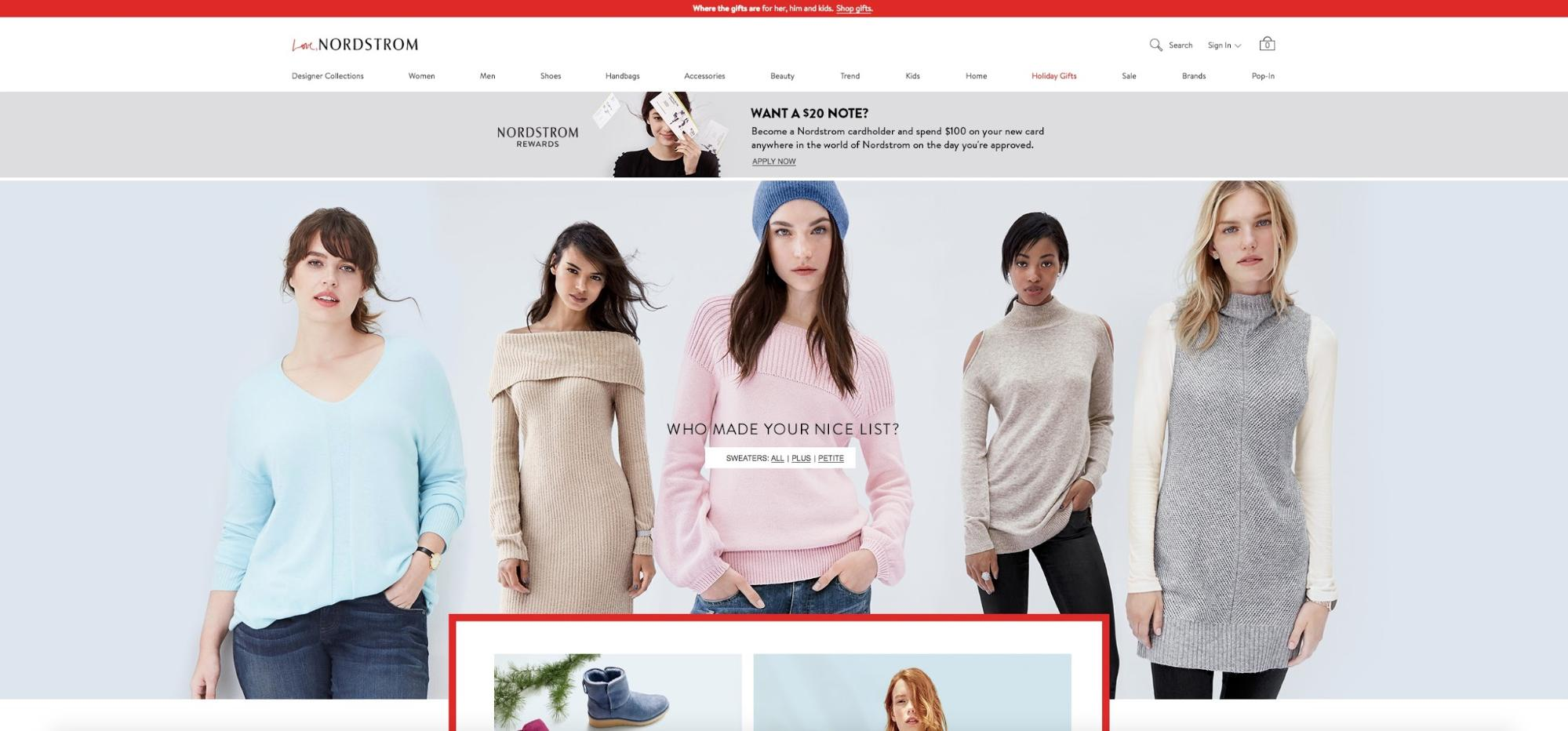 Designing Webpages For Christmas: Nordstrom