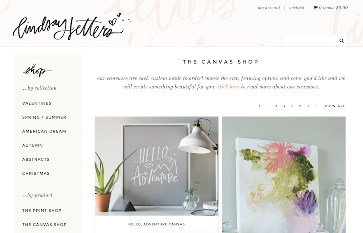 Ecommerce Website Design: Lindsay Letters