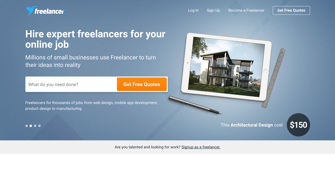 Finding web design clients: Freelancer