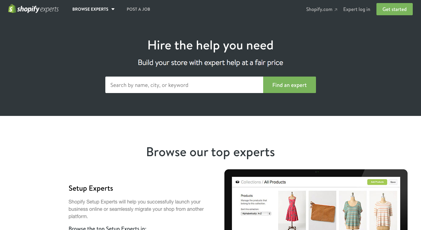 Finding web design clients: Shopify expert marketplace