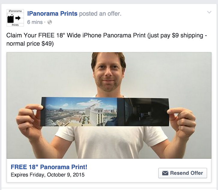 Marketing Sales Flow: Panorama prints a Facebook offering