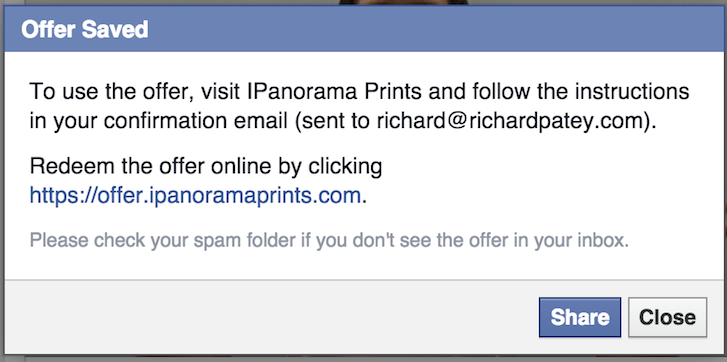 Sales Marketing Flow: You've saved Panorama Print's Facebook offering