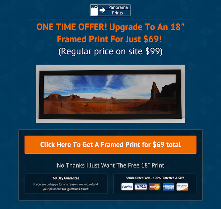 Marketing sales funnel: Ask for your panoramic print offer