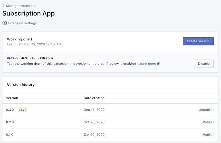 Shopify-API-release-January-2021: screengrab of subscription app manager in the partner dashboard