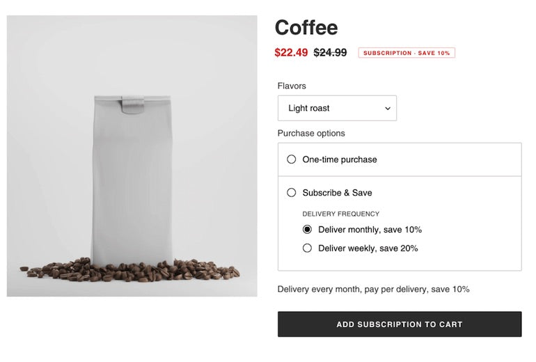 Shopify API release January 2021: coffee subscription checkout