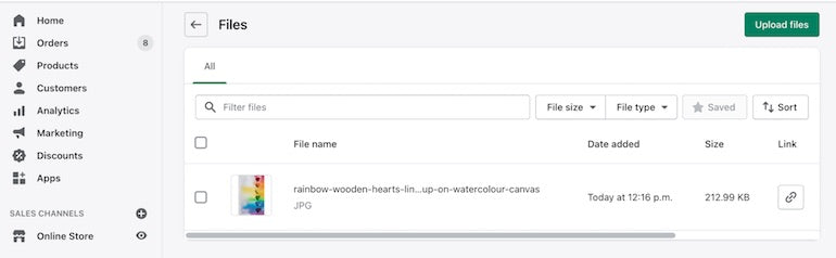 Shopify API release July 2021: screenshot of an image being uploaded to the Settings/File section of admin