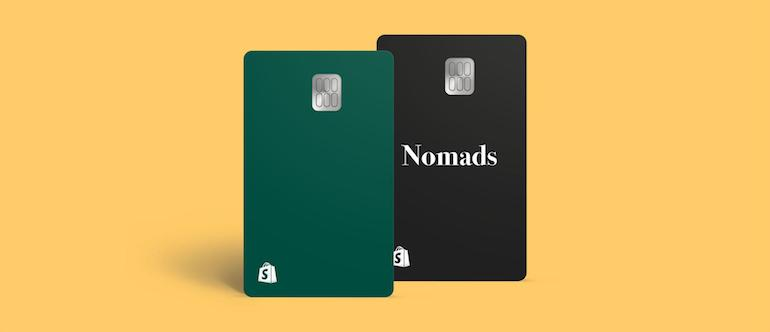 Two Shopify cards, one in green and one in black.