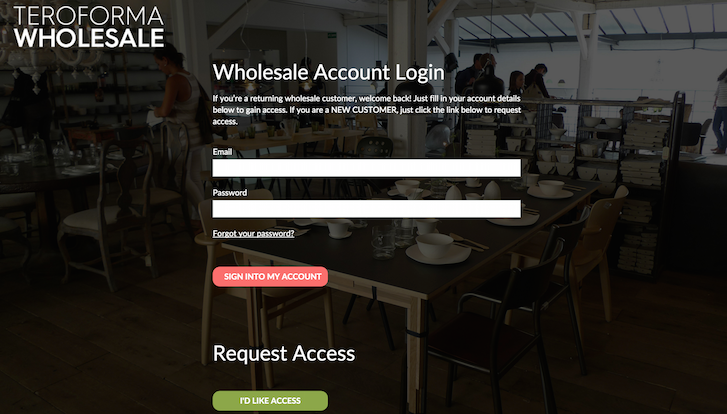 Teroforma wholesale account login design