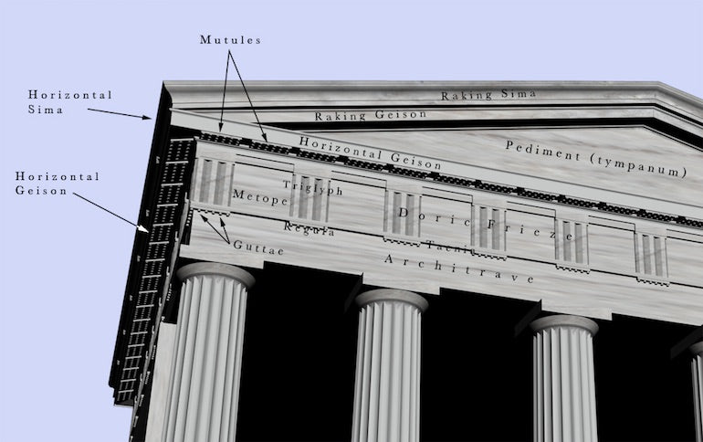 skeuomorphism: Image of an Ancient Greek temple. Highlighted in the image are design elements known as triglyph and guttae, which are elements of wooden templates that were recreated in stone.