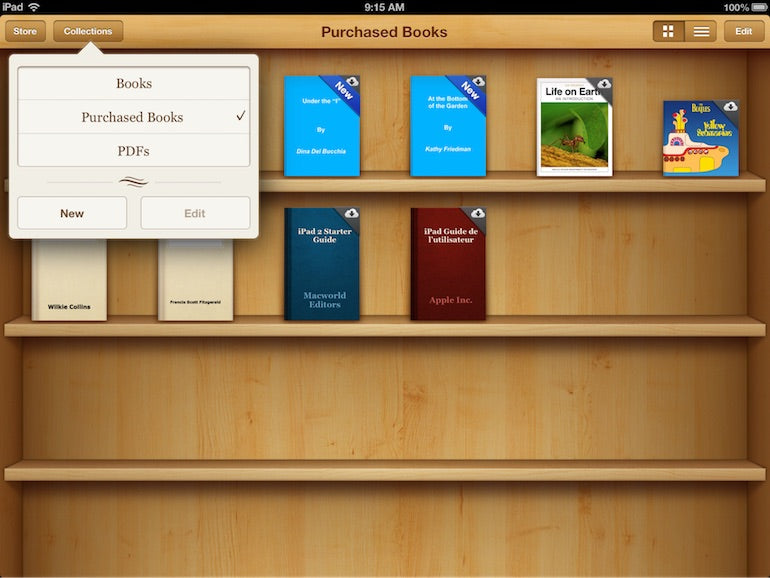 skeuomorphism: screenshot of a user's purchased books library in Apple iOS 6. There are 10 book covers displayed on the top two shelves of a wooden bookcase.