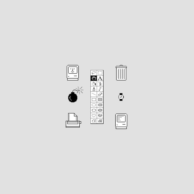 skeuomorphism: original skeuomorph icons for Apple Macintosh that include a trash can, printer, a watch, floppy disk, a bomb with a lit fuse, and various shapes and images to indicate different design elements the user can create.