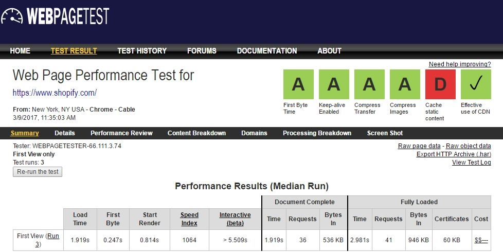 Web developer tools to increase productivity: Web page performance results