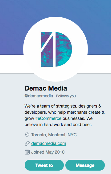 Actionable social media tips: Demac Media Twitter bio