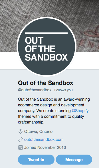 Actionable social media tips: Out of the Sandbox Twitter bio