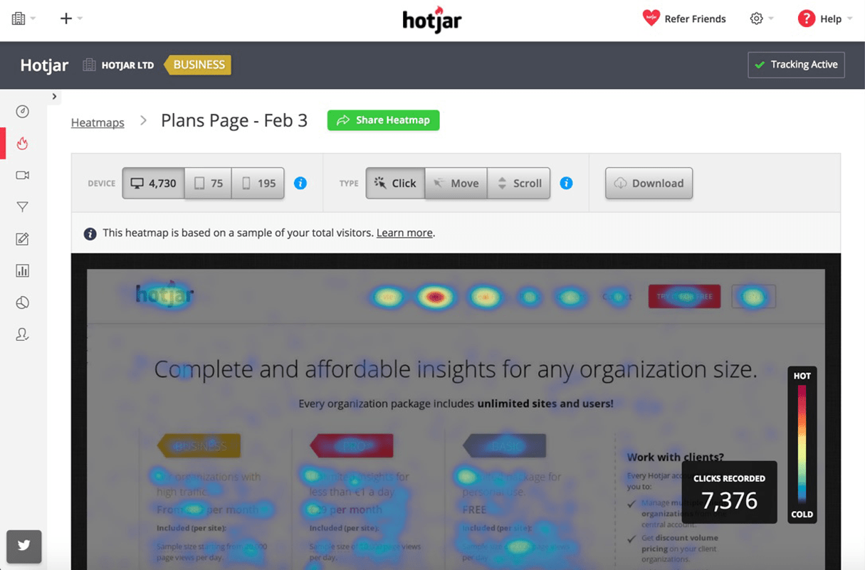 affiliate marketing: hotjar