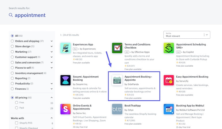 """App installs: Screenshot of the Shopify App Store search results for """"appointment"""" where SidePanda's Appointo app is highlighted."""